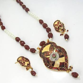 Meenakari Leafy Solid Color Necklace Metallic Brown