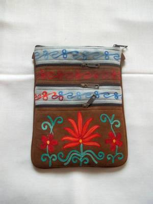 kashmiri suede embroidered bag