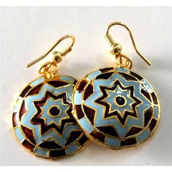 Blue & Brown Meenakari Earrings