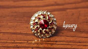 Red Kundan RING, Adjustable Handmade, Precious Stone Jewelry,
