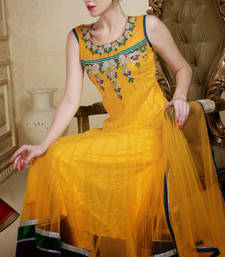 Buy Yellow embroidered Net stitched salwar with dupatta readymade-suit online