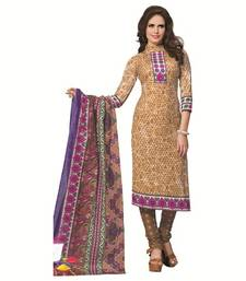 Buy BEIGE printed cotton unstitched salwar with dupatta dress-material online