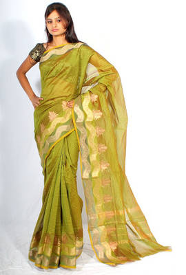 Chanderi fancy Zari border saree