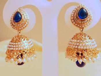 royal blue pearl jhumki