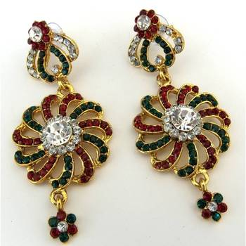 Green & Red Flower Earrings
