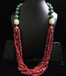 Buy red coral beads with tauquoise and pearl beads Necklace online