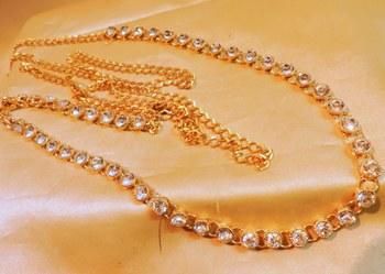 traditional single line zircon gold tone waistbelt