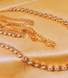 Buy traditional single line zircon gold tone waistbelt waist-belt online