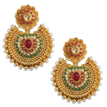 Ethnic Kundan like Earrings with Pearls by ADIVA a74 cb26
