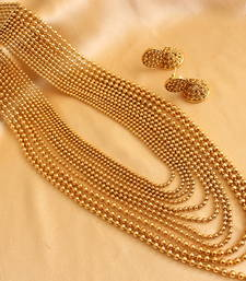 Buy Divine goldtone royal bridal multilayer long haar with earrings necklace-set online
