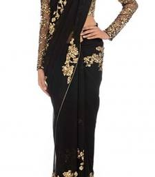 Buy black embroidered georgette saree with blouse black-friday-deal-sale online