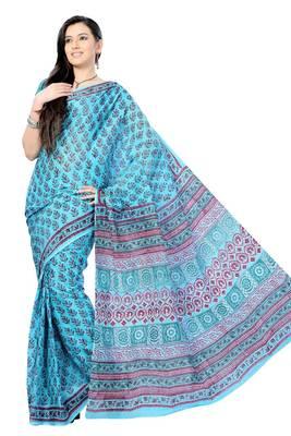 Sky Blue Hand Block Print Cotton Sari