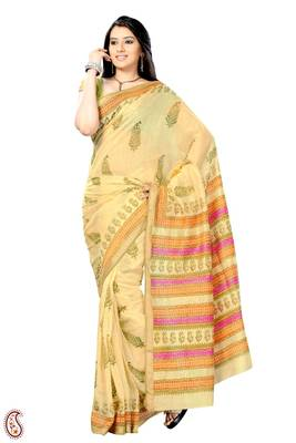 Block print Resham Border Cotton Silk Sari