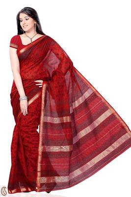 Vermilion Red Block print Cot silk Sari