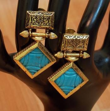 Ethnic Antique Stunning Turquoise Stone dangler Earrings