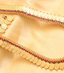 Buy Gorgeous antique royal kemp-greencoin lakshmi short haar with earrings necklace-set online