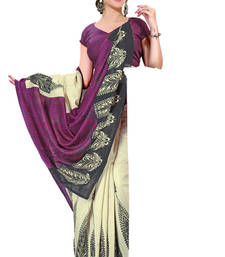 Buy Purple and Beige printed cotton saree with blouse printed-saree online