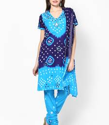 Buy Beautiful Blue Cotton Bandhej Dress Material dress-material online