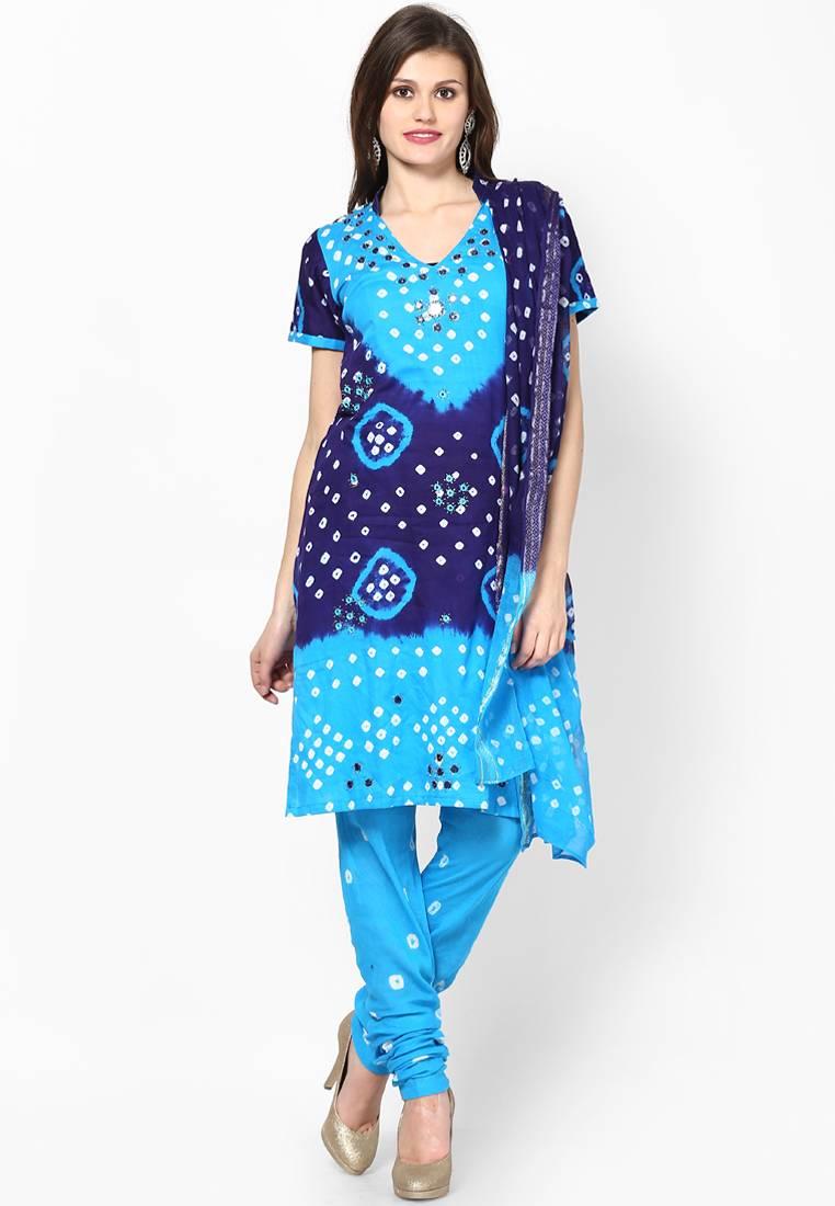 Buy Beautiful Blue Cotton Bandhej Dress Material Online