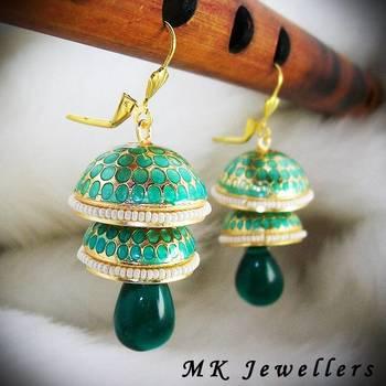 Meenakari Double Torki Earring Texture Pearl Aqua