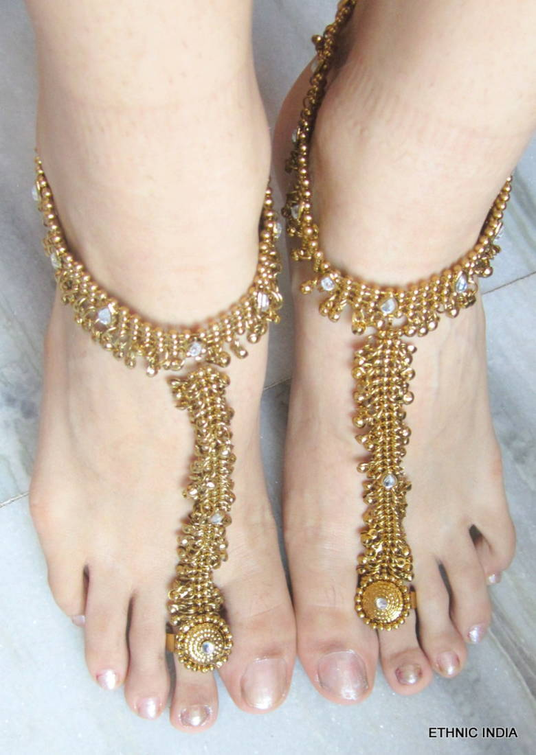 Buy ANTIQUE GOLD PAYAL ANKLET PAIR ATTACHED TOE RING Online