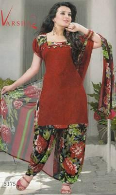 Crepe dress material elegant designer unstitched salwar suit d.no 5175
