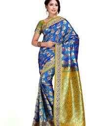 Buy Aqua and Ochre Art Kanchipuram Silk Saree with Blouse kanchipuram-silk-saree online