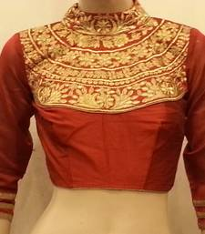 Buy Maroon dupion silk highneck zari embroidered blouse bridal-blouse online