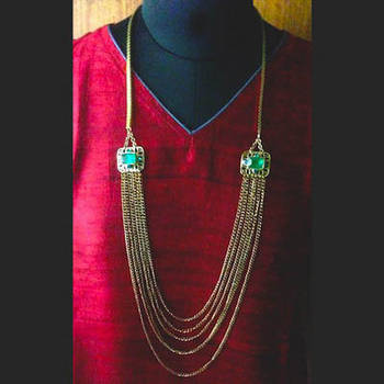 Glamorous long multi-chain brooch necklace