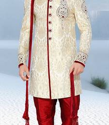 Buy white embroidered brocade sherwani wedding-sherwani online