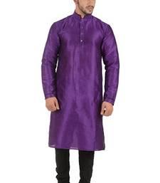 Buy purple art silk kurta pyjama pathani-sherwani online
