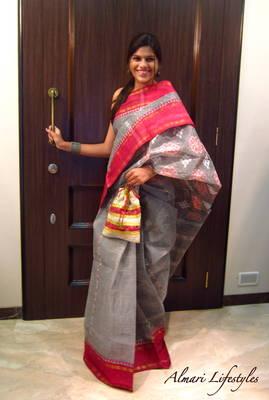 Calcutta Cotton Sari in Grey and Red