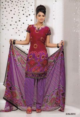 Dress Material Elegant French Crepe Printed Unstitched Salwar Kameez Suit D.No 5074