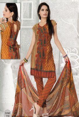 Dress Material Elegant French Crepe Printed Unstitched Salwar Kameez Suit D.No N110