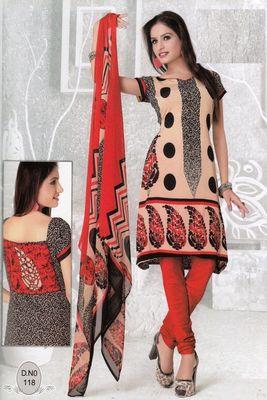 Dress Material Elegant French Crepe Printed Unstitched Salwar Kameez Suit D.No N118