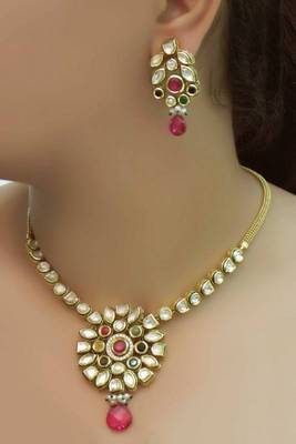 Kundan Navratan Gold Plated Necklace Set