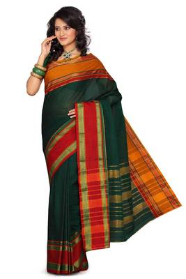 ISHIN Cotton Green Saree Kalyani
