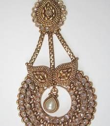 Buy Gold tone passa jhoomar white pearl polki, jhumar, side tika, hair-accessory online