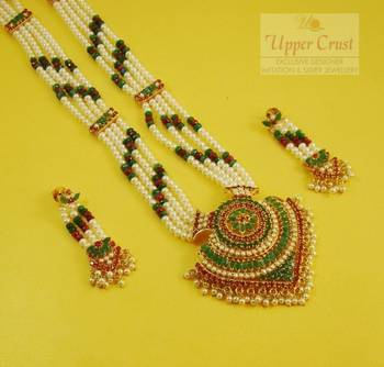 Navratna Navrattan Pearl Long Mala Necklace Jewellery