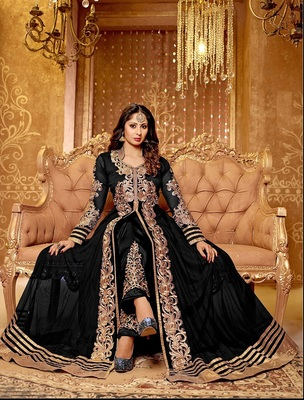 BLACK & BEIGE EMBROIDERED GEORGETTE SEMI-STITCHED ANARKALI SUIT