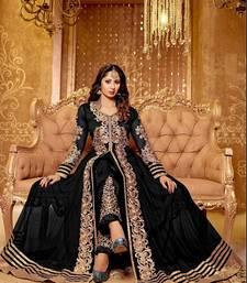 Buy BLACK & BEIGE EMBROIDERED GEORGETTE SEMI-STITCHED ANARKALI SUIT party-wear-salwar-kameez online
