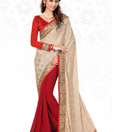 Buy Beige and Red embroidered jacquard saree with blouse wedding-saree online