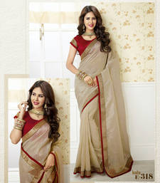 Buy partywear silk beige with red lace bordered cream Plain Viscose saree with blouse brasso-saree online