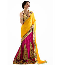 Buy Yellow embroidered jacquard saree with blouse lehenga-saree online
