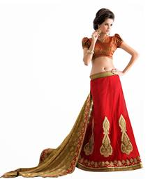 Buy Red embroidered georgette saree with blouse lehenga-saree online