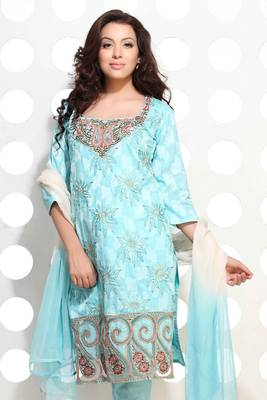 Baby Blue cotton jacquard embroidered suit