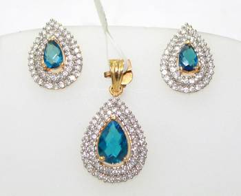 PEAR SHAPE BLUE SAPPHIRE SURROUNDED BY CZ STONES DELIGHTFUL PENDANT EARRINGS SET