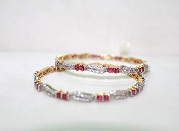 BEST IN CLASS CZ STUDDED WITH GRACEFUL RUBY ELEGANT BANGLE PAIR