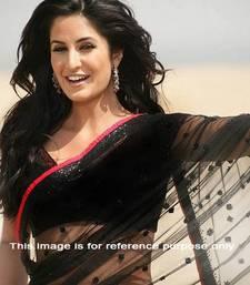 Buy Black plain net saree with blouse katrina-kaif-saree online