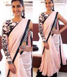 Buy Pink embroidered chiffon saree with blouse sonam-kapoor-saree online